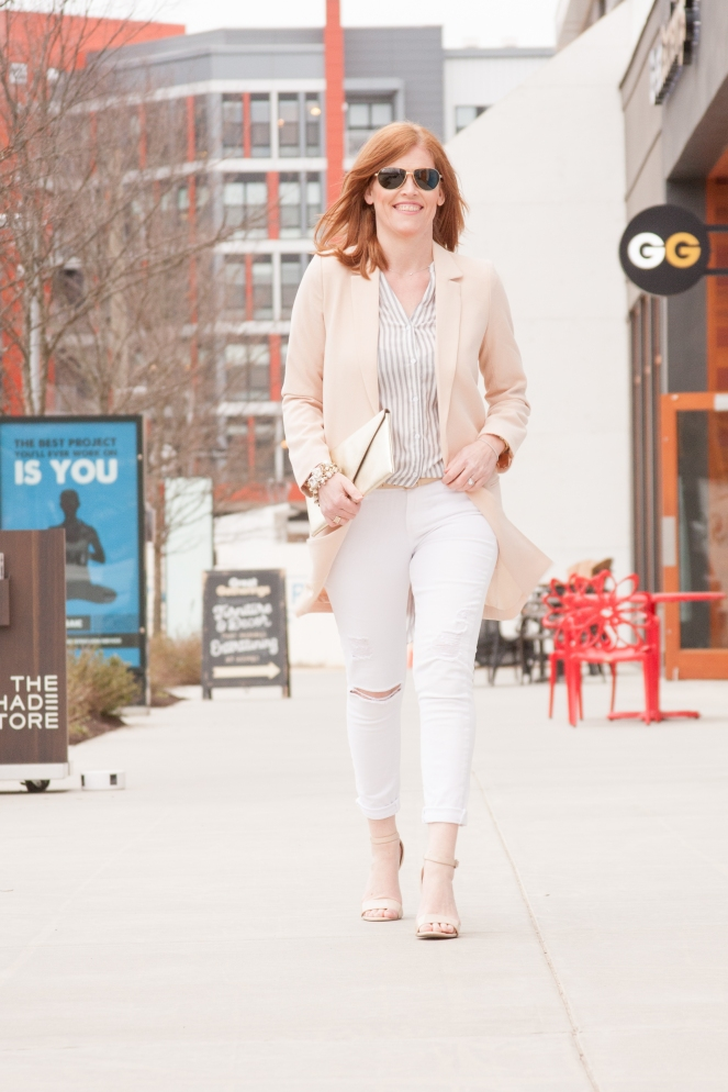 Gray and Blush French Chic Spring Outfit