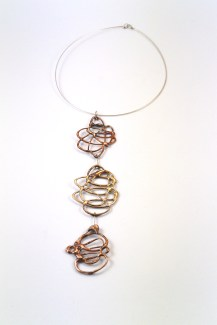 Eleonora Ghilardi Red and Gold Bronze and Silver Necklace - E290