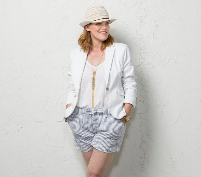 White Blazer and Striped Shorts