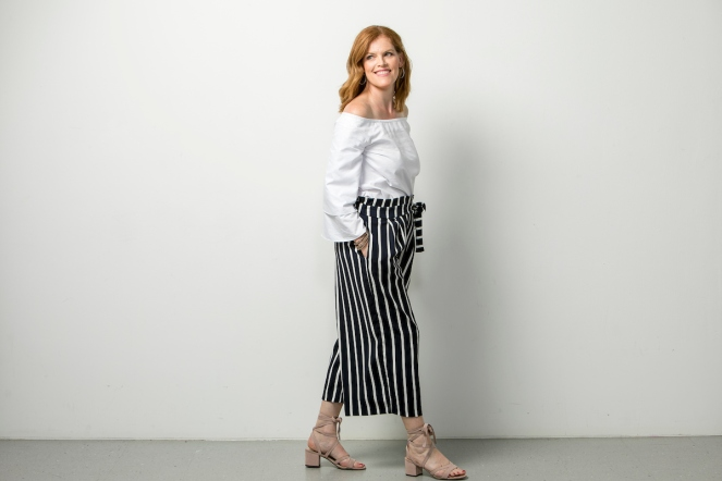 French Chic Navy Blue Striped Culottes
