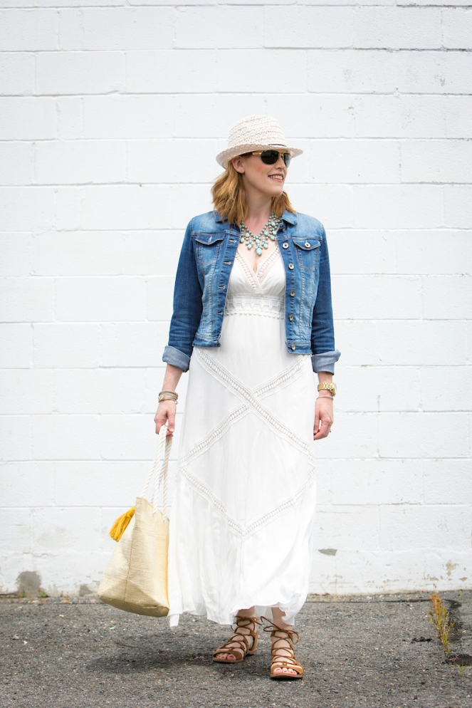 A White Boho Chic Maxi Dress Look