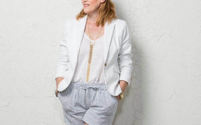 White Blazer and Striped Shorts