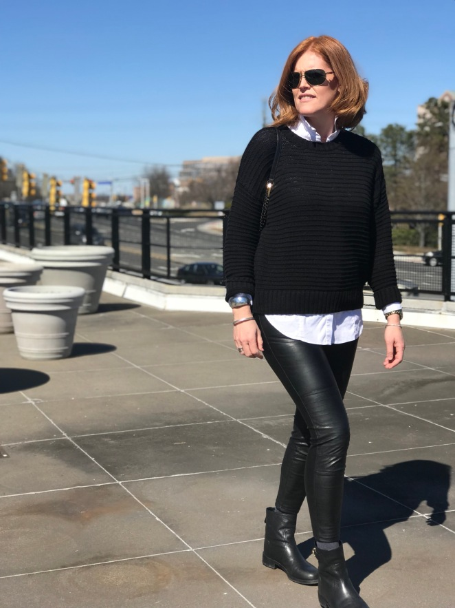 Leather Leggings Weekend Chic Outfit