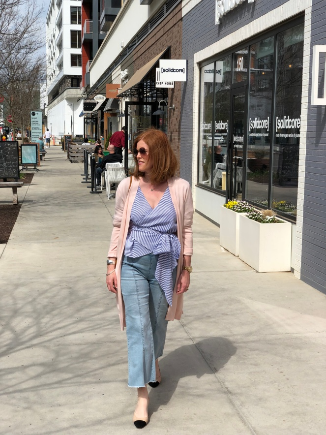 French Chic Spring Essentials: Striped Blouse & Wide-Leg Denim