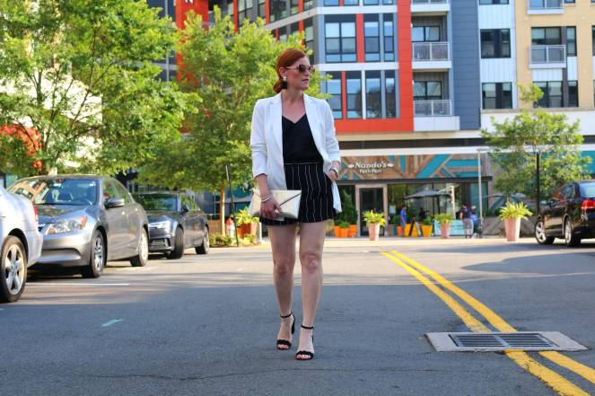 French Chic Striped Shorts & White Blazer Outfit