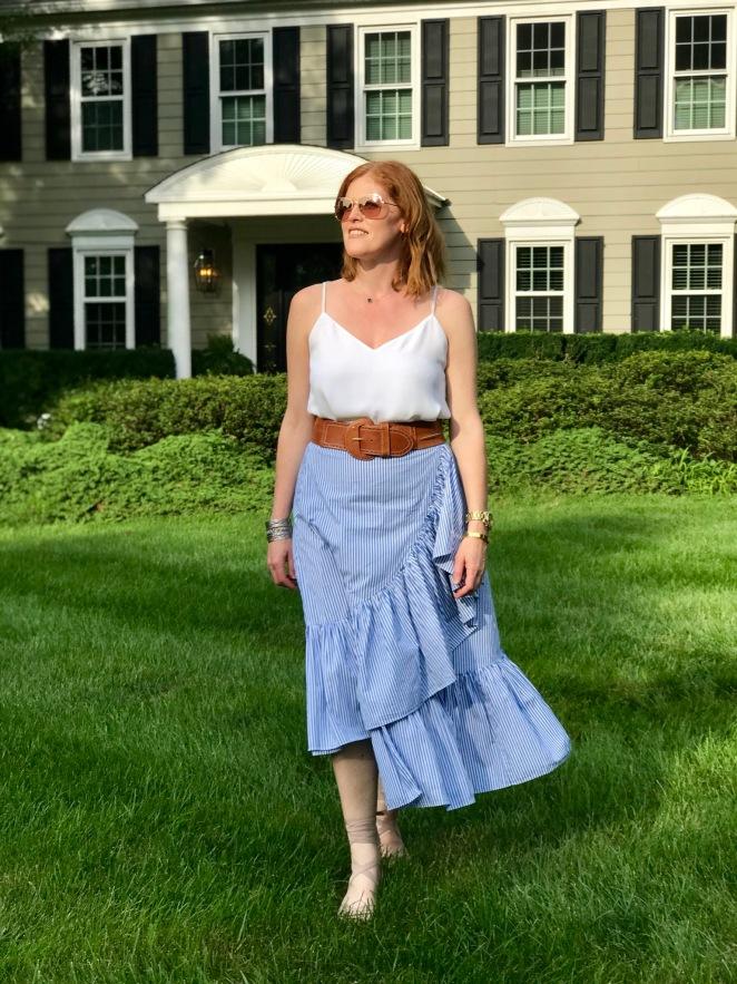 French Chic Summer Essential: Asymmetric Stripe Ruffle Skirt