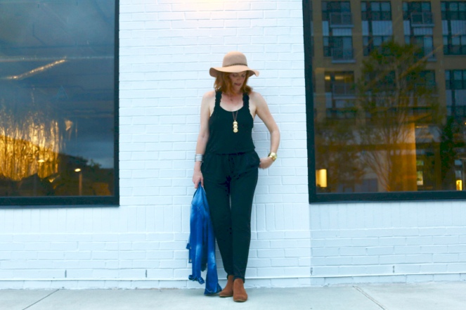 Transitioning to Fall with Chic Black Knit Jumpsuit